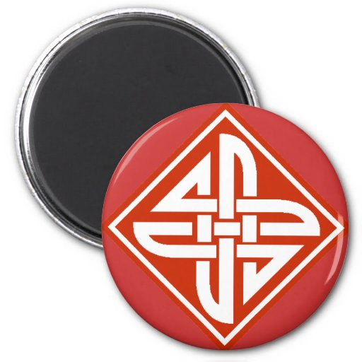 Celtic Knot 2 Red 2 Inch Round Magnet