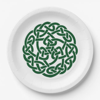 Celtic Knot 2 round green Paper Plate