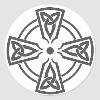 Celtic Knot 5 Black Classic Round Sticker