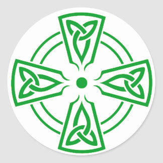 Celtic Knot 5 Green Classic Round Sticker