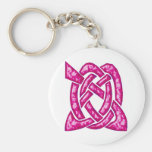 Celtic Knot 6 Red Keychain