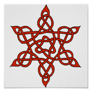 Celtic Knot 9 Red Poster