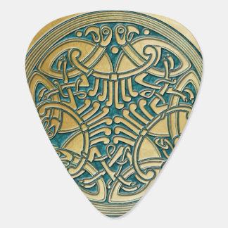 Celtic Knot Aqua & Gold Birds 2-Guitar Pic Guitar Pick