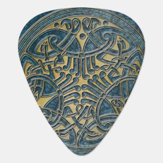 Celtic Knot Aqua & Gold Birds -Guitar Pic Guitar Pick