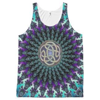 Celtic Knot Aqua Purple Fractal Mandala Tank Top