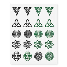 Celtic Knot Assortment Green And Black Tattoos at Zazzle