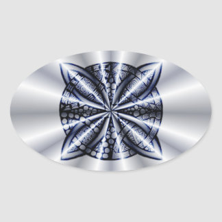 Celtic Knot Blue Metallic Oval Stickers