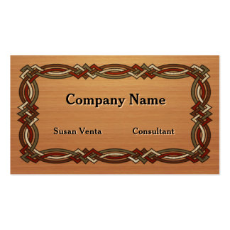 Celtic Knot Border Inlaid Wood Business Card