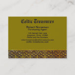 Celtic Knot Border on Leafy Yellow Business Card