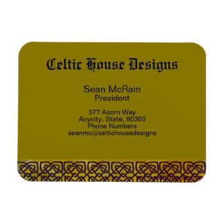 Celtic Knot Border on Leafy Yellow Magnet