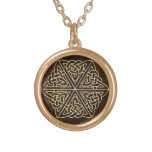 Celtic Knot Brown/Gold Pendant