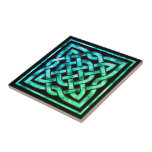 "Celtic Knot Ceramic Tile: Square Blue Green Design Tile<br><div class=""desc"">A ceramic tile of a blue-green Celtic knot design against a black background.</div>"