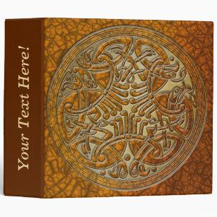 Celtic Knot Circle of Amber Birds & Gold-Binder 3 Ring Binder