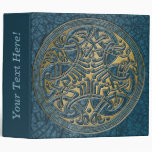 Celtic Knot Circle of Aqua Birds & Gold-Binder