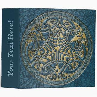 Celtic Knot Circle of Aqua Birds & Gold-Binder Vinyl Binders