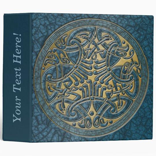 Celtic Knot Circle of Aqua Birds & Gold-Binder Binder