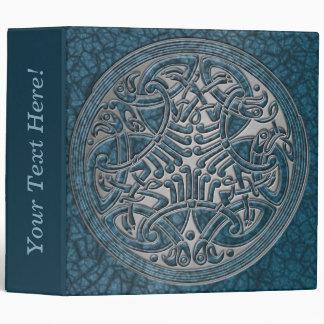 Celtic Knot Circle of Aqua Birds & Silver-Binder 3 Ring Binder