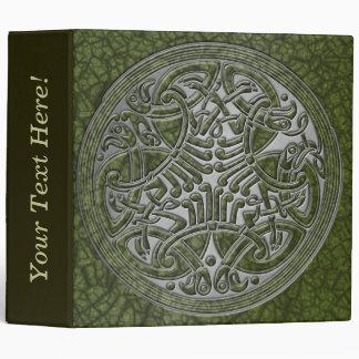 Celtic Knot Circle of Green Birds & Silver-Binder Binder