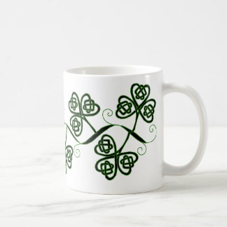Celtic knot clover mug in black and green