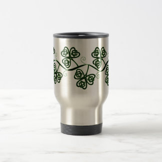 Celtic knot clover travel mug in black and green