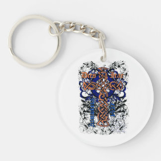 Celtic knot cross affected design Double-Sided round acrylic keychain
