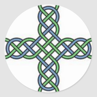 Celtic knot cross, blue and green, gift, St. Paddy Classic Round Sticker