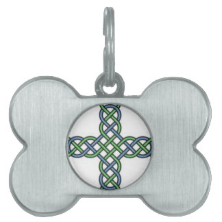 Celtic knot cross, blue and green, gift, St. Paddy Pet ID Tag