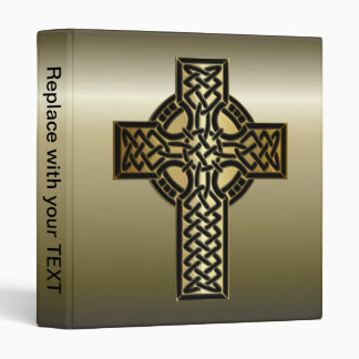 Celtic Knot Cross in Gold and Black Binder