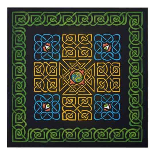 Celtic Knot (Cross) with eyes Panel Wall Art | Zazzle.com