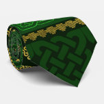 Celtic Knot Decorative Gold and Green pattern Neck Tie