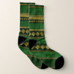 Celtic Knot Decorative Gold and Green pattern Socks