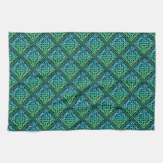 Celtic Knot - Diamond Blue Green Hand Towel