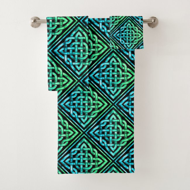 Celtic Knot - Diamond Blue Green Towel Set