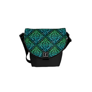 Celtic Knot - Diamond Tile Blue Green Courier Bag