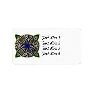 Celtic Knot Doodle Green Blue Address Label