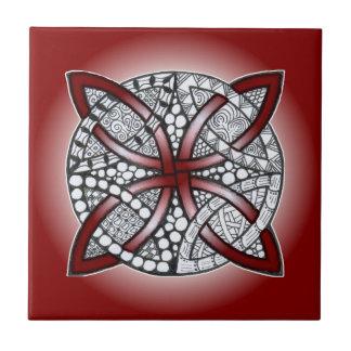 Celtic Knot Doodle Maroon Red Ceramic Tile