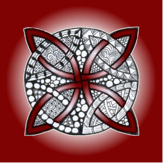 Celtic Knot Doodle Maroon Red Standing Photo Sculpture