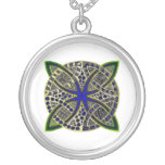 Celtic Knot Doodle Yellow Green Blue Silver Plated Necklace