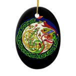 Celtic Knot Dragon Mandala Ceramic Ornament
