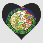 Celtic Knot Dragon Mandala Heart Sticker