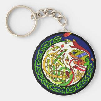 Celtic Knot Dragon Mandala Keychain