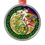 Celtic Knot Dragon Mandala Metal Ornament
