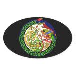 Celtic Knot Dragon Mandala Oval Sticker