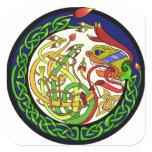 Celtic Knot Dragon Mandala Square Sticker