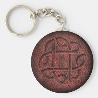 Celtic knot embossed leather keychain
