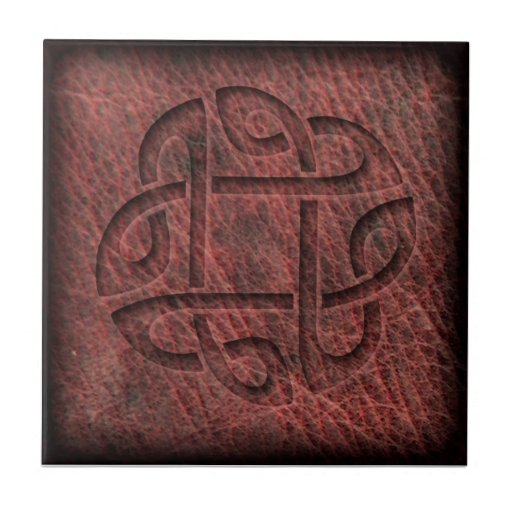 Celtic knot embossed leather tiles