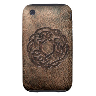 Celtic knot embossed on leather iPhone 3 tough case
