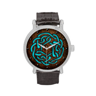 Celtic knot enameled blue on leather digital art watches