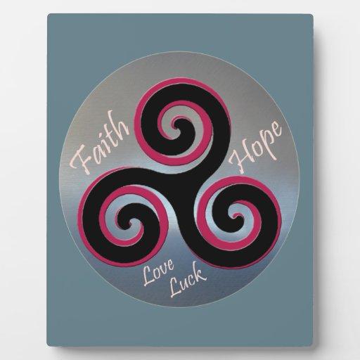 Celtic Knot Faith Hope Love Luck Plaque