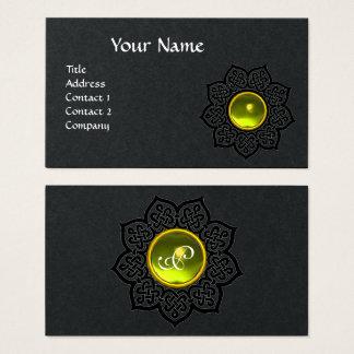 CELTIC KNOT FLOWER YELLOW GEMSTONE MONOGRAM Black Business Card